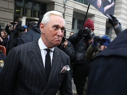 WASHINGTON, DC - FEBRUARY 01: Roger Stone, a former adviser to U.S. President Donald Trump, leaves the Prettyman United States Courthouse after a hearing February 1, 2019 in Washington, DC. A self-described political dirty-trickster, Stone is facing charges from Special Counsel Robert Mueller that he lied to Congress and engaged …