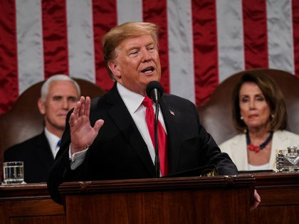 WASHINGTON, DC - FEBRUARY 5: U.S. President Donald Trump, with Speaker Nancy Pelosi and Vice President Mike Pence looking on, delivers the State of the Union address in the chamber of the U.S. House of Representatives at the U.S. Capitol Building on February 5, 2019 in Washington, DC. President Trump's …