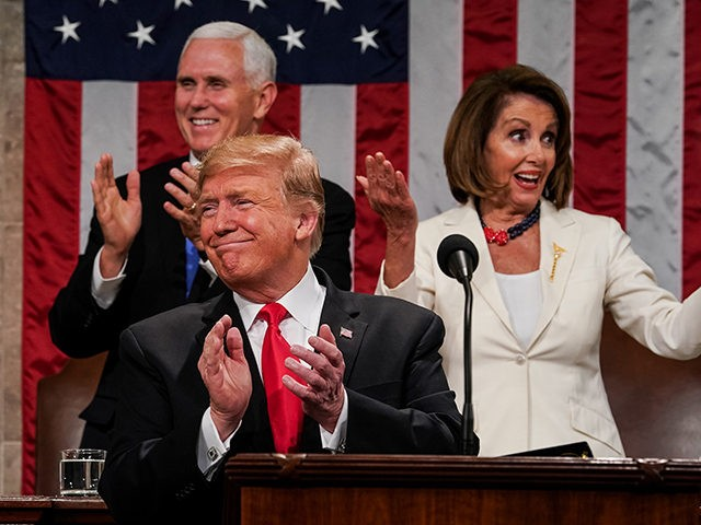 WASHINGTON, DC - FEBRUARY 5: U.S. President Donald Trump, Speaker Nancy Pelosi and Vice President Mike Pence applaud during the State of the Union address in the chamber of the U.S. House of Representatives at the U.S. Capitol Building on February 5, 2019 in Washington, DC. President Trump's second State …