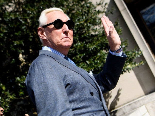 Former campaign advisor to US President Donald Trump, Roger Stone, arrives at US District Court in Washington, DC on February 21, 2019. - Stone arrived for a hearing on his instagram posts of Judge Amy Berman Jackson. (Photo by Brendan Smialowski / AFP) (Photo credit should read BRENDAN SMIALOWSKI/AFP/Getty Images)