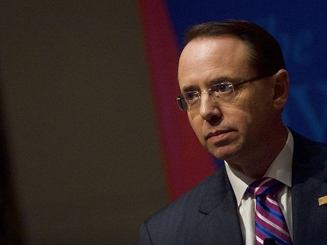 PHILADELPHIA, PA - FEBRUARY 21: Deputy Attorney General Rod J. Rosenstein speaks at the Wharton School at the University of Pennsylvania on February 21, 2019 in Philadelphia, Pennsylvania. Rosenstein's address was part of Wharton School's Legal Studies and Business Ethics Lecture Series. (Photo by Mark Makela/Getty Images)
