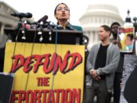 "WASHINGTON, DC - FEBRUARY 07: U.S. Rep. Alexandria Ocasio-Cortez (D-NY) speaks during a news conference at the East Front of the U.S. Capitol February 7, 2019 in Washington, DC. The freshman congresswoman held a news conference to call on Congress ""to cut funding for President Trump's deportation force."" (Photo by …"