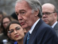 WASHINGTON, DC - FEBRUARY 07: U.S. Sen. Ed Markey (D-MA) speaks as Rep. Alexandria Ocasio-Cortez (D-NY) and other Congressional Democrats listen during a news conference in front of the U.S. Capitol February 7, 2019 in Washington, DC. Sen. Markey and Rep. Ocasio-Cortez held a news conference to unveil their Green …