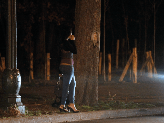 A prostitute waits for clients in the Bois de Boulogne, on March 2, 2012 in Paris. Twenty-five suspected prostitutes were arrested during an overnight anti-prostitution operation. AFP PHOTO / THOMAS SAMSON (Photo credit should read THOMAS SAMSON/AFP/Getty Images)