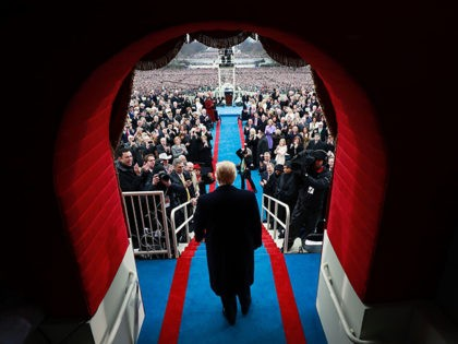 TOPSHOT - President-elect Donald J. Trump arrives at his inauguration at the United States Capitol on January 20, 2017 in Washington,DC. Donald Trump was sworn in as the 45th president of the United States Friday -- ushering in a new political era that has been cheered and feared in equal …