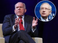 "(INSET: Harry Reid) WASHINGTON, DC - OCTOBER 04: Former Directors of the Central Intelligence Agency John Brennan (L) and Michaeld Hayden (R) participate in a discussion at a conference on ""The Ethos and the Profession of Intelligence"" at George Washington University October 4, 2017 in Washington, DC. (Photo by Win …"