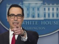 US Secretary of Treasury Steven Mnuchin speaks during the daily press briefing at the White House in Washington, DC, January 11, 2018. / AFP PHOTO / SAUL LOEB (Photo credit should read SAUL LOEB/AFP/Getty Images)