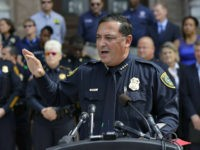 "Houston Police Chief Art Acevedo and other law enforcement take part in public safety event where they spoke against a proposed ""bathroom bill,"" Tuesday, July 25, 2017, in Austin, Texas. The Texas Senate has revived a bill mandating transgender Texans use public restrooms corresponding to their birth-certificate genders. (AP Photo/Eric …"