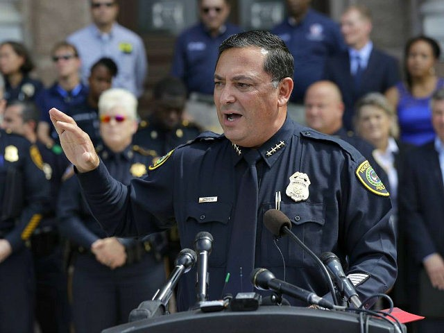 """Houston Police Chief Art Acevedo and other law enforcement take part in public safety event where they spoke against a proposed """"bathroom bill,"""" Tuesday, July 25, 2017, in Austin, Texas. The Texas Senate has revived a bill mandating transgender Texans use public restrooms corresponding to their birth-certificate genders. (AP Photo/Eric …"""