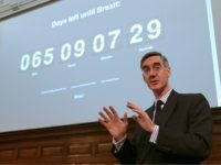 Conservative MP and Chairman of the European Research Group (ERG), Jacob Rees-Mogg gestures as he speaks during a meeting of The Bruges Group, a pro-Brexit think tank, in London on January 23, 2019. - The Bruges Group are long-time supporters of leaving the European Union and are against the emergence …