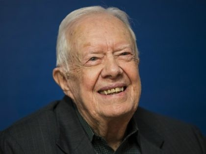 NEW YORK, NY - MARCH 26: Former U.S. President Jimmy Carter smiles during a book signing event for his new book 'Faith: A Journey For All' at Barnes & Noble bookstore in Midtown Manhattan, March 26, 2018 in New York City. Carter, 93, has been a prolific author since leaving …