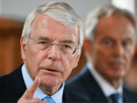 DERRY, NORTHERN IRELAND - JUNE 09: Sir John Major speaks as he and Tony Blair make a joint EU appeal on June 9, 2016 in Derry, Northern Ireland. Former British Prime Ministers Sir John Major and Tony Blair travelled to Derry City in Northern Ireland warning that voting to leave …