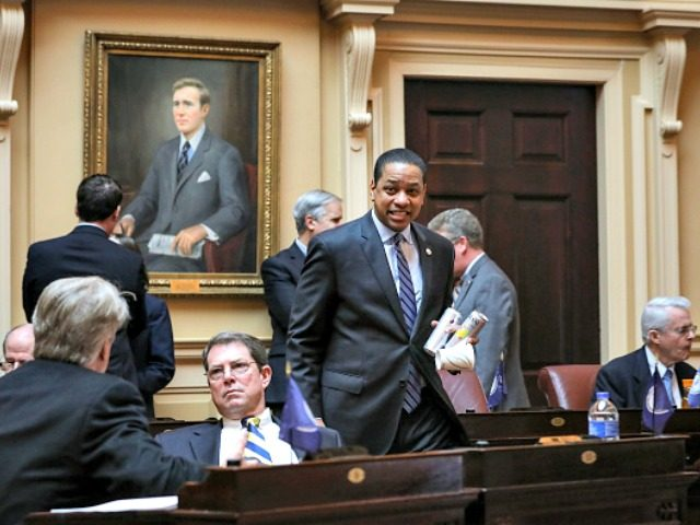 RICHMOND, VA - FEBRUARY 08: Virginia Lt. Governor Justin Fairfax (C) arrives on the Senate floor at the Virginia State Capitol, February 8, 2019 in Richmond, Virginia. Virginia state politics are in a state of upheaval, with Governor Ralph Northam and State Attorney General Mark Herring both admitting to past …