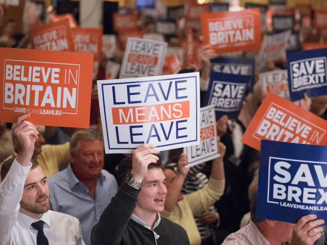 TORQUAY, ENGLAND - OCTOBER 13: People hold up posters at the 'Leave Means Rally' at the Rivera International Centre on October 13, 2018 in Torquay, England. Leave Means Leave is a pro-Brexit campaign, holding a series of rallies and events across the United Kingdom. (Photo by Matt Cardy/Getty Images)