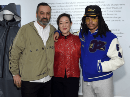 NEW YORK, NEW YORK - FEBRUARY 09: Mazdack Rassi, co founder of Milk Studios, Rhea Suh, President of NRDC and designer Luka Sabbat attend Luka Sabbat's 'Unfortunately, Ready to Wear' Concept Collection Openingat Milk Gallery on February 09, 2019 in New York City. (Photo by Jamie McCarthy/Getty Images)