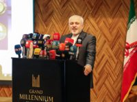 Iranian Foreign Minister Mohammad Javad Zarif speaks during a joint-trade conference between Iraq's northern autonomous Kurdistan region and Iran, in the northern Iraqi Kurdish city of Sulaimaniyah on January 15, 2019. - Iraq has witnessed a revolving door of diplomatic visits since Trump made a surprise Christmas trip in December …