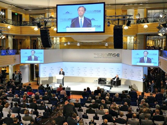 Yang Jiechi, member of China's political bureau, speaks at the 55th Munich Security Conference (MSC) in Munich, southern Germany, on February 16, 2019. - The 2019 edition of the Munich Security Conference (MSC) takes place from February 15 to 17, 2019. THOMAS KIENZLE / AFP/GETTY IMAGES