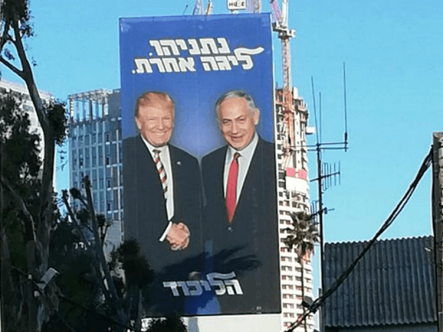 TEL AVIV - An oversized billboard of President Donald Trump shaking hands with Prime Minister Benjamin Netanyahu was visible on Sunday from Tel Aviv's main highway as part of the prime minister's reelection campaign.
