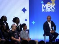 OAKLAND, CALIFORNIA - FEBRUARY 19: Former U.S. President Barack Obama speaks during the MBK Rising! My Brother's Keeper Alliance Summit on February 19, 2019 in Oakland, California. MBK Rising! is bringing together hundreds of young men of color, local leaders and organizations that are working to reduce youth violence, create …