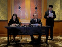 North Korea Foreign Minister Ri Yong Ho, center, talks during a press conference at Melia Hotel in Hanoi, Vietnam, Thursday, Feb. 28, 2019. Talks between President Donald Trump and North Korea's Kim Jong Un collapsed Thursday after the two sides failed to bridge a standoff over U.S. sanctions, a dispiriting …