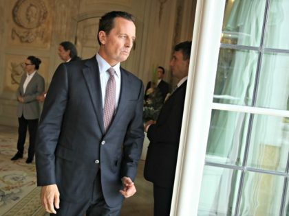 GRANSEE, GERMANY - JULY 06: U.S. Ambassador Richard Grenell (C) attends a reception for the internaitonal diplomatic corps hosted by German Chancellor Angela Merkel at Schloss Meseberg palace on July 6, 2018 near Gransee, Germany. Grenell, who was appointed ambassador by U.S. President Donald Trump, recently met with German auto …