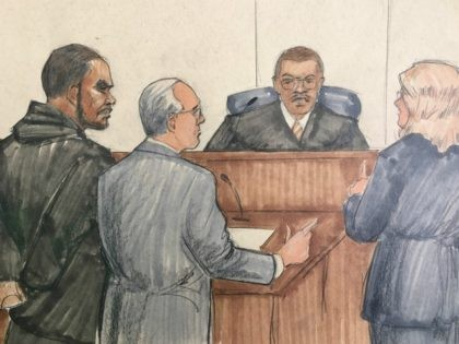 In this courtroom sketch, R&B singer R. Kelly, attorney Steve Greenberg and prosecutor Jennifer Gonzalez appears before Cook County Judge John Fitzgerald Lyke Jr. at the Leighton Criminal Courthouse, Saturday, Feb. 23, 2019 in Chicago. The judge has set Kelly's bond at $1 million saying that the amount equals $250,000 …