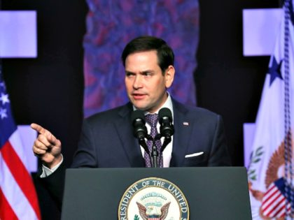 DORAL, FLORIDA - FEBRUARY 01: Sen. Marco Rubio (R-FL) speaks before Vice President Mike Pence takes to the podium at Iglesia Doral Jesus Worship Center after meeting with Venezuelan exiles and community leaders on February 01, 2019 in Doral, Florida. Sen. Rubio and Vice President Pence met with families, political …