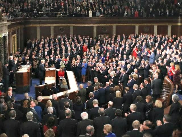 The crowd at President Trump's delivers the State of the Union address.