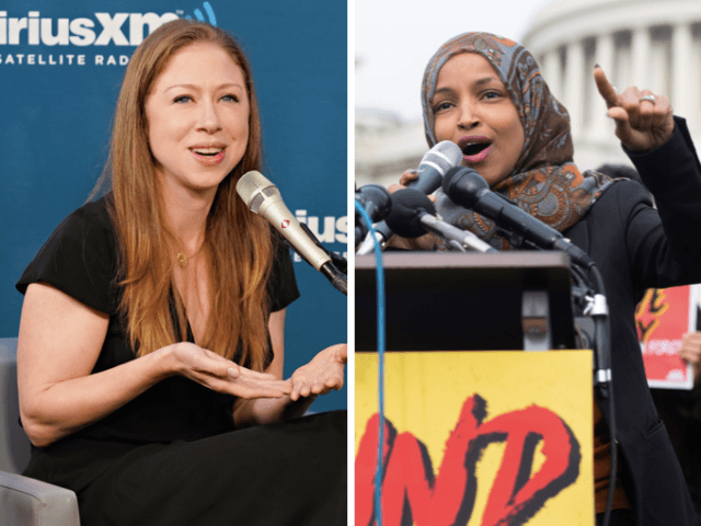 Chelsea Clinton vs. Ilhan Omar (Cindy Ord / Saul Loeb / Getty)