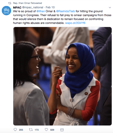 Ilhan Omar MPAC retweet (Screenshot / Twitter)