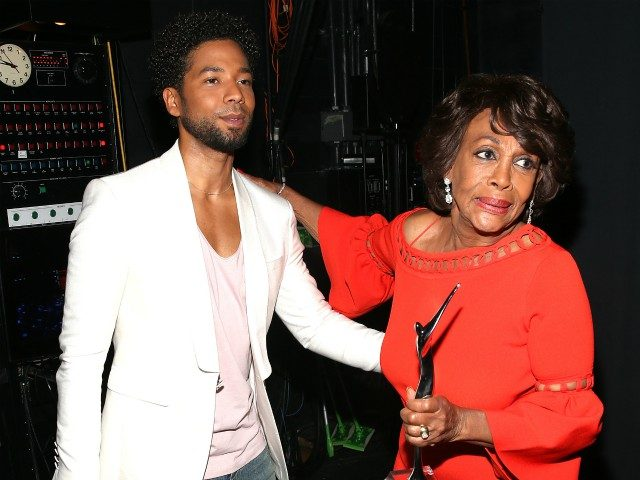 NEWARK, NJ - AUGUST 05: Jussie Smollett and Honoree Congresswoman Maxine Waters are seen backstage during Black Girls Rock! 2017 at NJPAC on August 5, 2017 in Newark, New Jersey. (Photo by Bennett Raglin/Getty Images for BET)