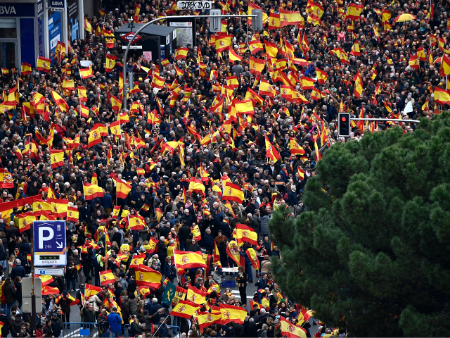 Thousands rally in Madrid against Spanish PM's proposed talks on Catalonia