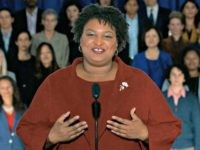 In this pool image from video, Stacey Abrams delivers the Democratic party's response to President Donald Trump's State of the Union address, Tuesday, Feb. 5, 2019 from Atlanta. Abrams narrowly lost her bid in November to become America's first black female governor, and party leaders are aggressively recruiting her to …
