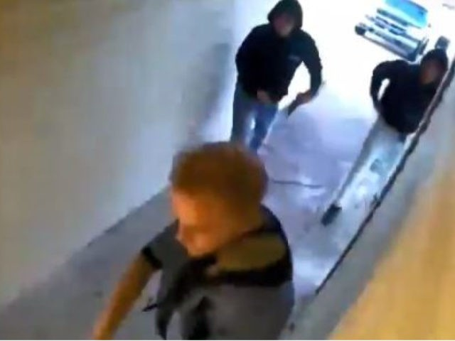 Screenshot of video of three suspects in Oklahoma attempted break-in.