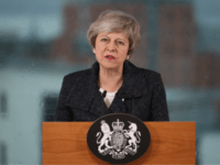 BELFAST, NORTHERN IRELAND - FEBRUARY 05: British Prime Minister Theresa May makes a speech during a visit to Allstate Northern Ireland on February 5, 2019 in Belfast, Northern Ireland. Mrs May's speech will pledge to avoid a hard border in Ireland following Brexit. (Photo by Liam McBurney - WPA Pool/Getty …