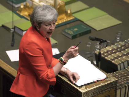 Britain's Prime Minister Theresa May speaks to lawmakers in parliament, London, Wednesday Feb. 27, 2019. May insisted Wednesday that Britain will leave the European Union on schedule next month, amid signs that her promise to give Parliament a vote on delaying Brexit was boosting support for her unpopular EU divorce …