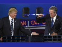 Donald Trump and Jeb Bush had many tense moments during Wednesday's debate, but there were also some light moments, including when they slapped hands toward the end of the night.