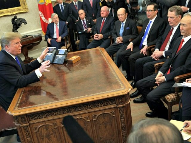 WASHINGTON, DC - FEBRUARY 22: U.S. President Donald Trump (L) speaks during a meeting with Chinese Vice PremierLiu He (R) as other U.S. officials look on in the Oval Office of the White House February 22, 2019 in Washington, DC. Liu is in Washington with the Chinese delegation to participate …