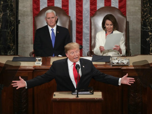 President Donald Trump, with Speaker Nancy Pelosi and Vice President Mike Pence looking on, delivers the State of the Union address in the chamber of the U.S. House of Representatives at the U.S. Capitol Building on February 5, 2019 in Washington, DC. President Trump's second State of the Union address …