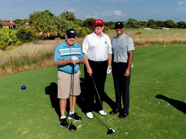 Donald Trump plays golf with Tiger Woods, Jack Nicklaus in Florida