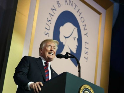 In this May 22, 2018 file photo, President Donald Trump speaks at the Susan B. Anthony List 11th Annual Campaign for Life Gala at the National Building Museum in Washington. Step by step, the Trump administration is methodically remaking government policy on reproductive health _ potentially limiting access to birth …