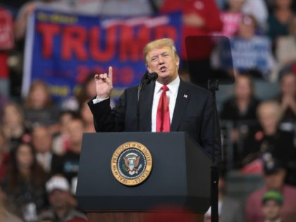 U.S. President Donald Trump speaks to supporters during a campaign rally at the Mid-America Center on October 9, 2018 in Council Bluffs, Iowa.