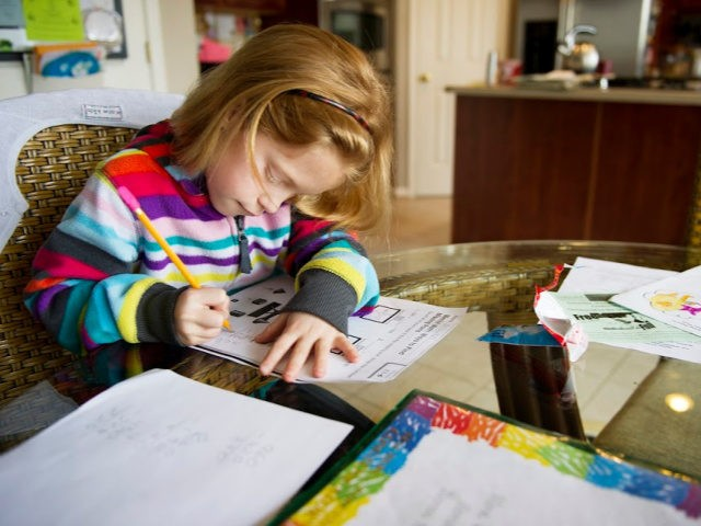Autumn Watson does her homework in her dining room in Centreville, Maryland after class at Centreville Elementary on April 30, 2013.