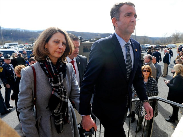 CHILHOWIE, VIRGINIA - FEBRUARY 09: Virginia Gov. Ralph Northam, left, and his wife Pam, left, leave the funeral of fallen Virginia State Trooper Lucas B. Dowell after the church service for the funeral at the Chilhowie Christian Church on February 9, 2019 in Chilhowie, Virginia. (Photo by Steve Helber - …