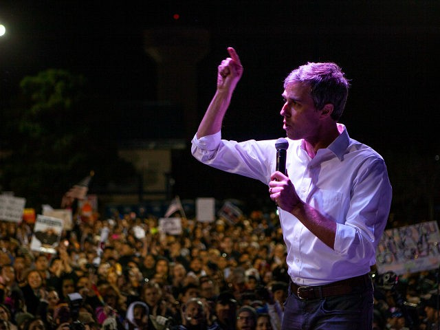 EL PASO, TX - FEBRUARY 11: Former candidate for U.S. Senate Beto ORourke speaks to thousands of people gathered to protest a U.S./Mexico border wall being pushed by President Donald Trump February 11, 2019 in El Paso, Texas. The event was organized by Border Network for Human Rights and the …