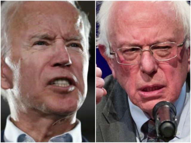 Joe Biden (L) and Bernie Sanders (R) are frontrunners for Democrat presidential nominee.