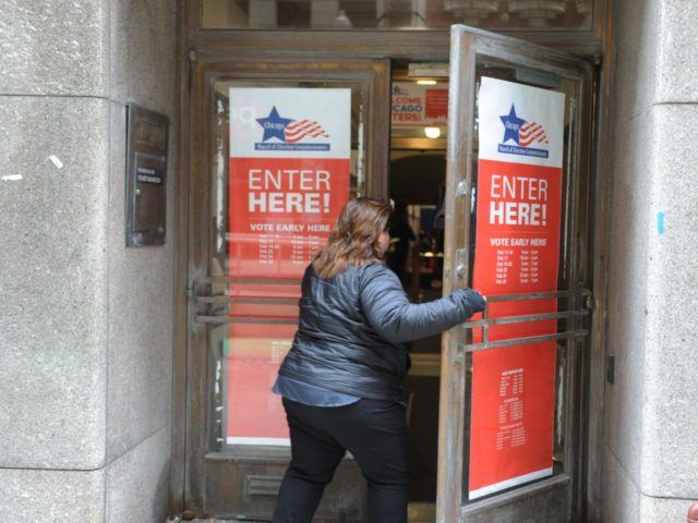 A voter enters a polling location in downtown Chicago for citywide mayoral elections on February 26, 2019. - Chicago voters headed to the polls Tuesday to choose a new mayor from an unusually crowded field of 14 candidates who want to tackle the city's persistent problems of high crime and …