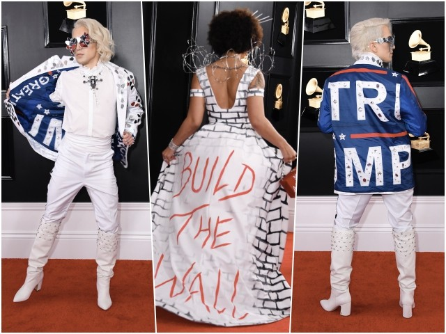 Grammys: Pop Star Arrives in MAGA Suit, Singer Joy Villa Wears 'Build the Wall' Dress