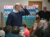 U.S Senator Cory Booker (D-NJ) speaks to guests during a campaign event in the basement at the First Congressional United Church of Christ on February 08, 2019 in Mason City, Iowa. Booker, whose has family from Iowa, is in the state campaigning for the 2020 Democratic nomination for president. (Photo …