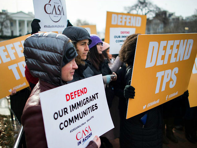 Immigrants and activists protest near the White House to demand that the Department of Homeland Security extend Temporary Protected Status (TPS) for more than 195,000 Salvadorans on January 8, 2018 in Washington, DC. The US government announced Monday the end of a special protected status for about 200,000 Salvadoran immigrants, …